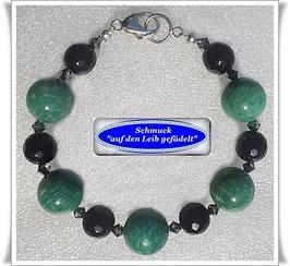 233) elegantes Amazonit-Onyx-Armband