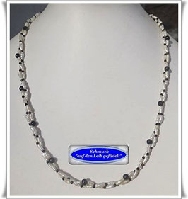 1526. 2-reihige Perlen-Onyx-Spinell-Kette