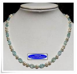 1824. schicke Aquamarin-Swarovski-Pearls-Kette