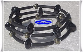 174) Memory Wire-Armband mit Onyx und Pyrit