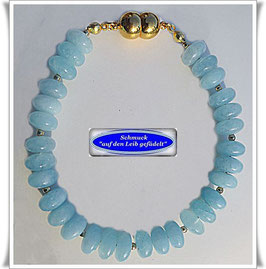 1533. Aquamarin-Quarz-Armband Set