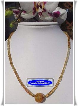 1242. Citrin-Kette mit Muranoglas-Perle