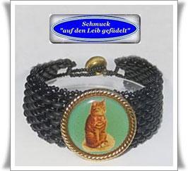 91) Glasperlen-Armband mit Katzen-Knopf TS
