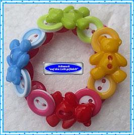37) süßes Kinderarmband mit bunten Teddy-Knöpfen TS