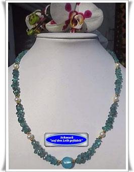 1186. Kyanit Disthen-Kette mit Muranoglasperle