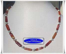 1562. Achat-Walzen-Perlenkette Set