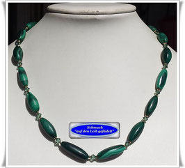 1950. elegantes Malachit-Swarovski-Pyrit-Collier
