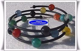 115) Memory Wire-Armband mit buntem Achat TS
