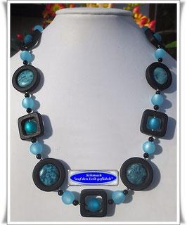 375. blaue Jaspis-Polaris-Kette