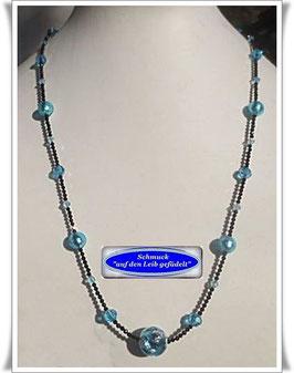 1519. zierliche Spinell-Kette mit Muranoglas-Perlen