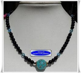 1861. edle Onyx-Swarovski-Kette mit Muranoglas-Perle