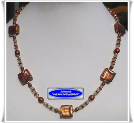 856. goldbraune Muranoglas-Perlenkette