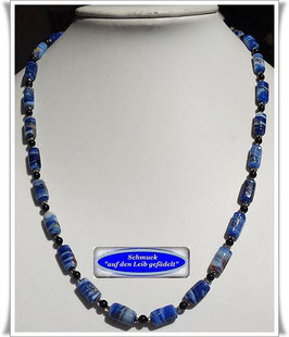 1948. blaue Muranoglas-Perlen-Onyx-Kette