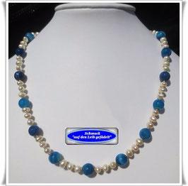 109. blaue Achat-Kette Set