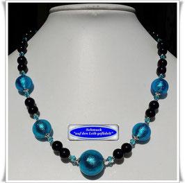 1888. elegante Onyx-Kette mit wunderschönen Muranoglas-Perlen