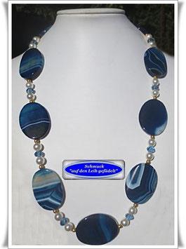 1472. blaue Streifenachat-Kette