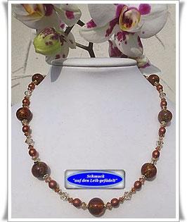 1264. braune Muranoglas-Perlenkette