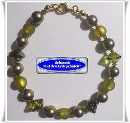 153) grünes Glasperlen-Armband