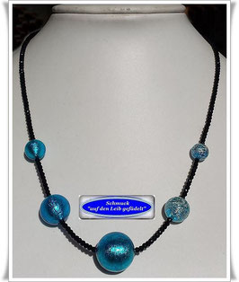 1944. zierliche Spinell-Kette mit Muranoglas-Perlen