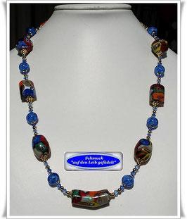 1878 ausgefallene Murano-Millefiori Trade Beads-Kette