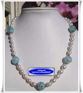 1214. echte Süßwasser-Zuchtperlen-Kette mit Muranoglas-Perlen