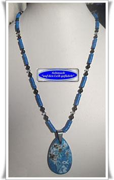 1545. blaue Vinyl-Scheiben-Kette mit Achat-Anhänger