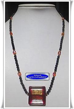 1455. Spinell-Kette mit großer Muranoglas-Perle