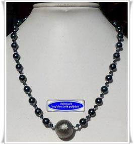 1891. elegante Swarovski Crystal Pearls-Kette mit großer Muranoglas-Perle