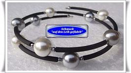 86) Memory Wire-Armbänder mit Muschelkernperlen + Pyrit TS