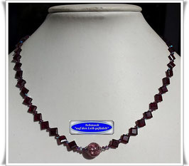 1863. zierliche Granat-Kette mit Muranoglas-Perle