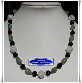 1681. schicke Aventurin-Bergkristall-Onyx-Kette