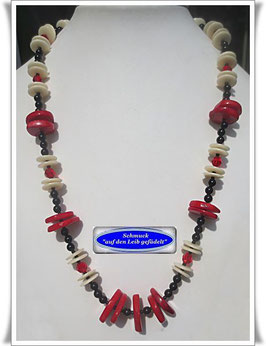 1419. auffällige Korallen-Onyx-Kette