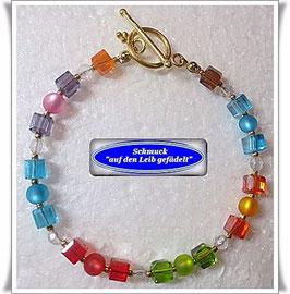 114) buntes Glaswürfel-Armband