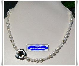 159. zierliche Bergkristall-Onyx-Kette
