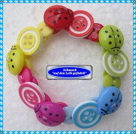 41) süßes Marienkäfer-Armband aus Knöpfen TS