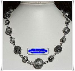 1941. elegante silber-schwarzes Muranoglas-Collier