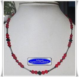 1640. zierliche rote Swarovski-Perlenkette