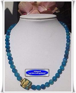 1317. blaue Achat-Kette mit Muranoglas-Perle