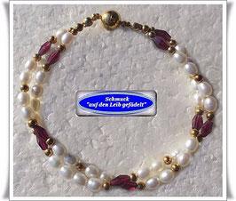 202) 2-reihiges Perlen-Granat-Armband