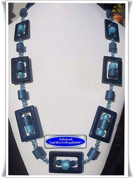 370. lange blaue Achat-Polaris-Kette Set
