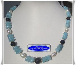 1532. Aquamarin-Quarz-Onyx-Collier