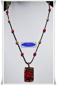 1997. zierliche Spinell-Kette mit Muranoglas-Anhänger