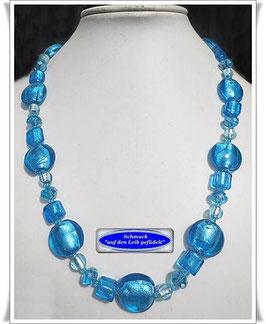 173) aquafarbene Silverfoil-Glasperlenkette TS