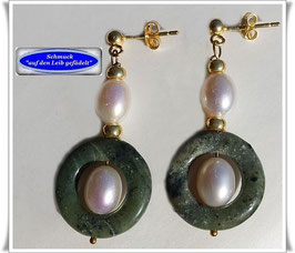 1270. Jade-Süßwasser-Zuchtperlen-Ohrringe