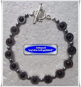 204) Hämatit-Onyx-Armband