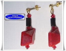 332. rot-schwarze Ohrringe