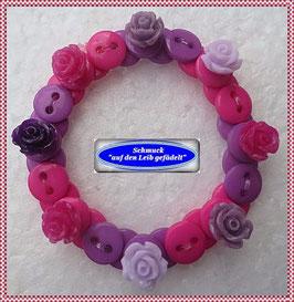 50) hübsches Kinderarmband mit Rosenknöpfen TS