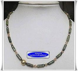 1670. zierliche Rhyolith-Swarovski-Kette