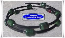 170) Memory Wire-Armband mit Rubin Zoisit