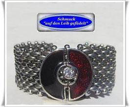108) edles Glasperlenarmband mit Strass-Zierknopf